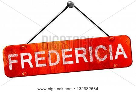 Fredericia, 3D rendering, a red hanging sign