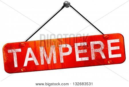 Tampere, 3D rendering, a red hanging sign
