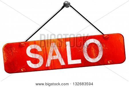 Salo, 3D rendering, a red hanging sign