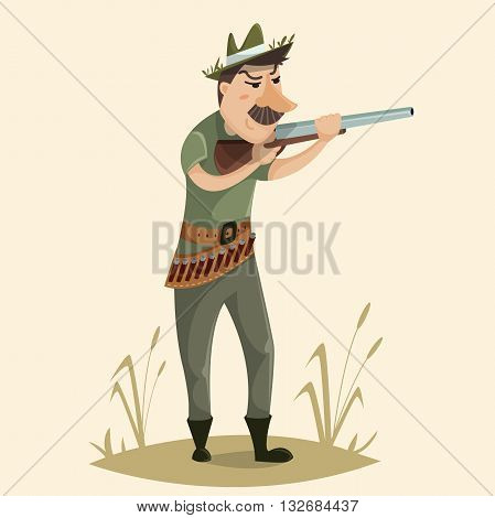 Hunter with gun. Funny cartoon character. Vector illustration in retro style