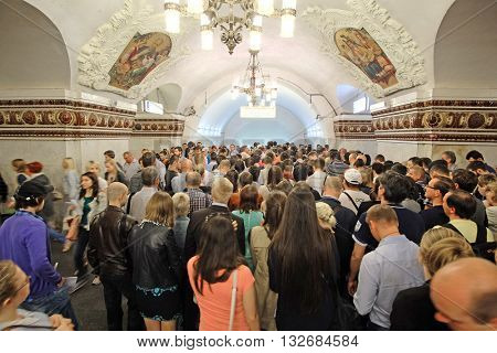 Moscow, Russia - June, 1, 2016: Jam in Moscow metro in a rush hour