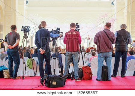 Moscow, Russia - May, 23, 2016: journalists on the press conference devoted to tours of the La Scala theater in Moscow.