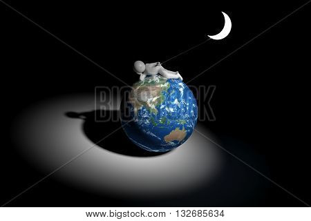 3d human holds the moon - Asia oceania edition (Elements of this image furnished by NASA)