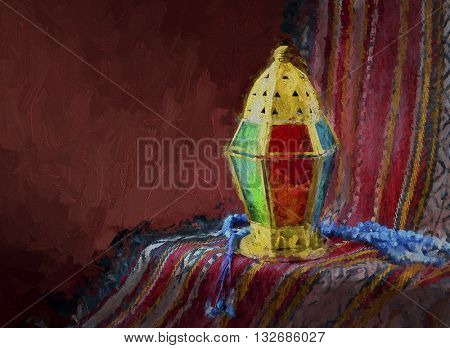 Ramadan lamp and rosary - Fine art drawing in oil-paint technique. Islamic Festive Art.