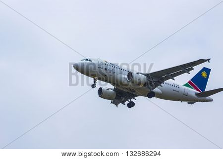 Air Namibia airplane landing at OR Tambo Internantional airport 17th of October 2015 Johannesburg South Africa