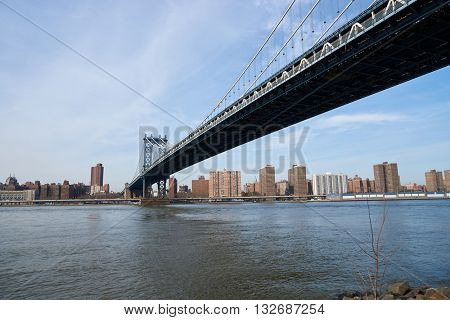 NEW YORK, USA - CIRCA MARCH, 2016: view of New York from Brooklyn at daytime. Brooklyn is the most populous of New York City's five boroughs.