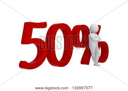3D human leans against  a red 50%