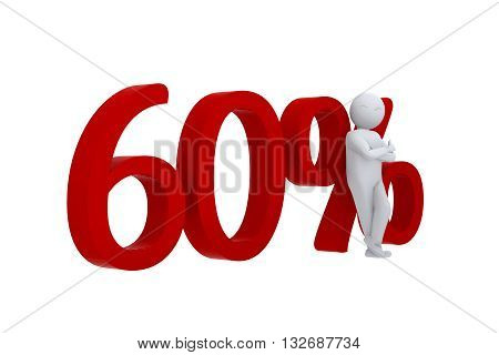 3D human leans against  a red 60%