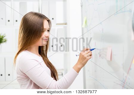 Cute Woman Drawing Business Charts