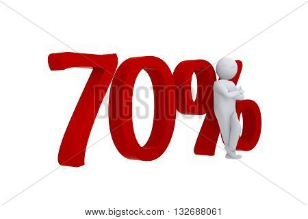 3D human leans against  a red 70%