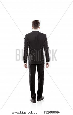 Isolated Businessman Back View