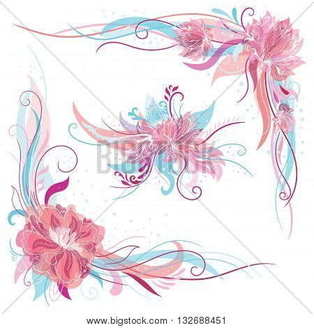 Tender corners and bouquet elements with swirls and lotus and peony flowers in blue and pink colors for wedding design