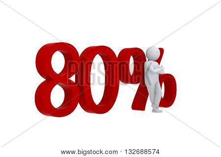 3D human leans against  a red 80%