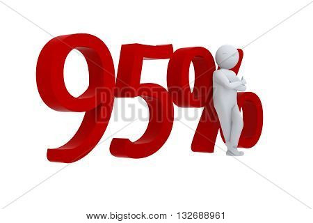 3D human leans against a red  95%