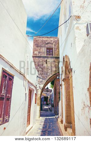 Lindos antique street. Rhodes,Greece