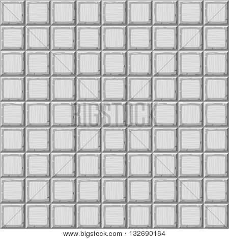 Cartoon Hand Drown Grey Seamless Decorative Old Tiles Texture. Vector Illustration