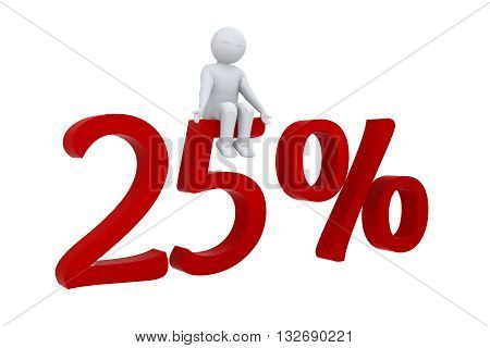 A 3d human sits on red 25%