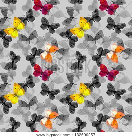 Seamless pattern with decorative hand painted drawing butterflies, watercolor