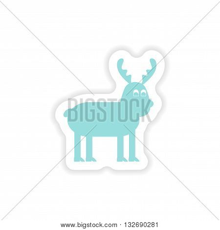 paper sticker on white background   Christmas Reindeer