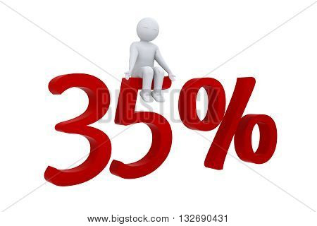 A 3d human sits on red 35%