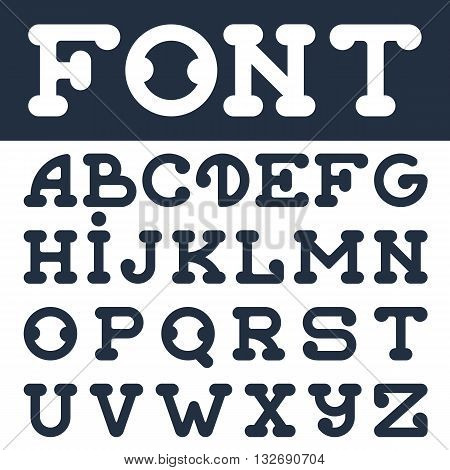 Latin font set. Uppercase letters. Typeface with rounded corners. English alphabet typescript