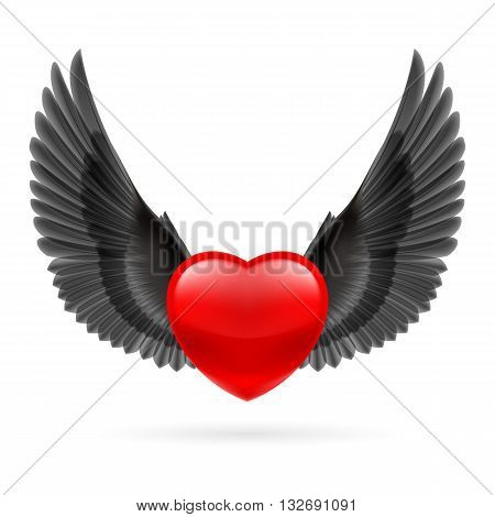 Red heart with black raised crow wings.