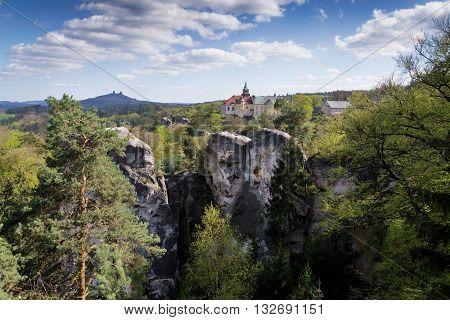 Hruba Skala Castle On Sandstone Cliff In The Czech Republic