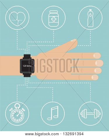 Smart watch on hand with sport icon flat vector illustration