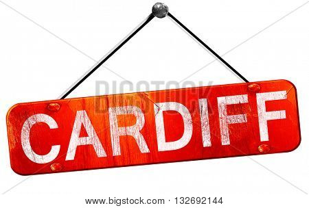 Cardiff, 3D rendering, a red hanging sign
