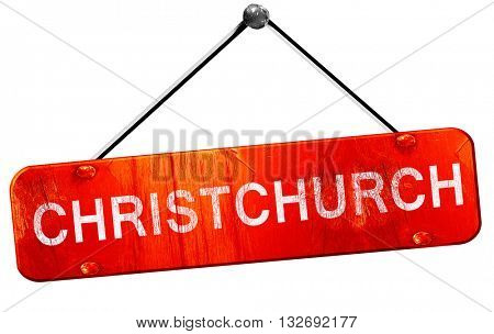 Christchurch, 3D rendering, a red hanging sign