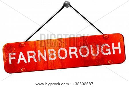 Farnborough, 3D rendering, a red hanging sign
