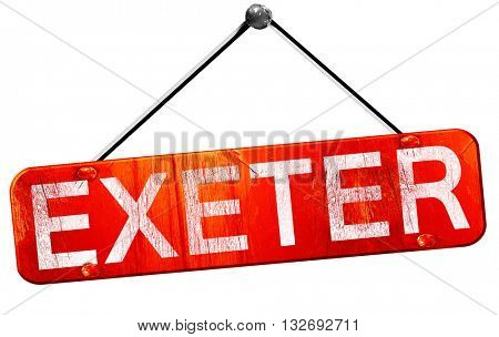 Exeter, 3D rendering, a red hanging sign