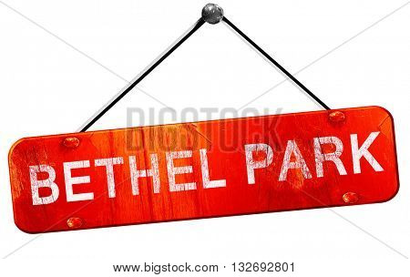 bethel park, 3D rendering, a red hanging sign