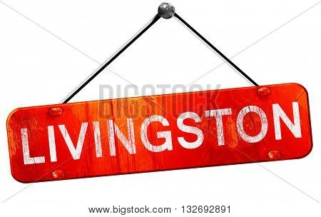 Livingston, 3D rendering, a red hanging sign