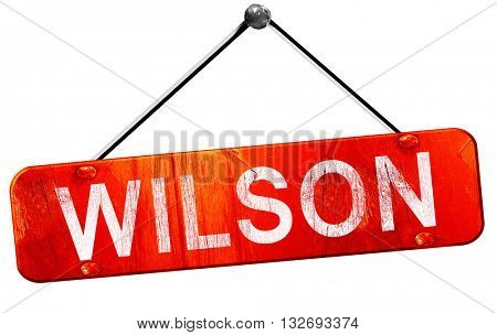 wilson, 3D rendering, a red hanging sign