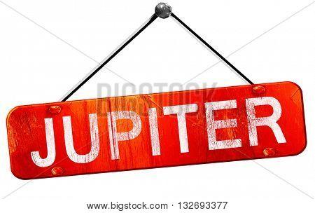 jupiter, 3D rendering, a red hanging sign