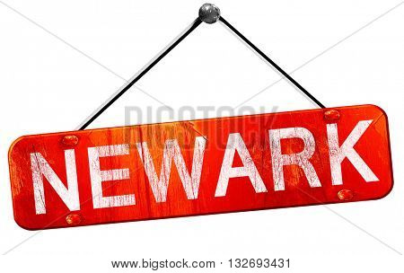 newark, 3D rendering, a red hanging sign