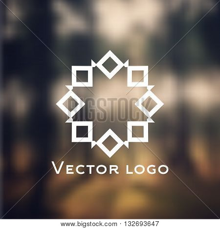 Vector abstract geometric icon, logo isolated on blurred background. Web icon