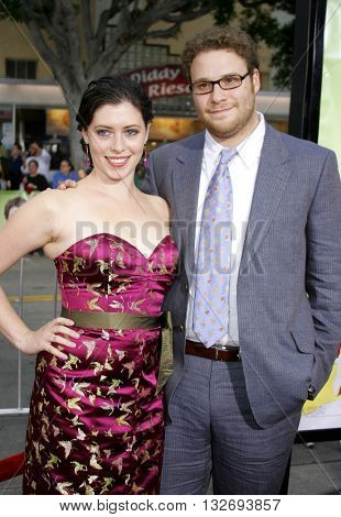 Lauren Miller and Seth Rogan at the Los Angeles premiere of 'Knocked Up' held at the Mann Village Theatre in Westwood, USA on May 21, 2007.
