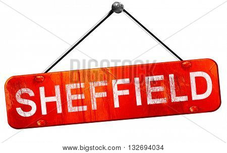 Sheffield, 3D rendering, a red hanging sign