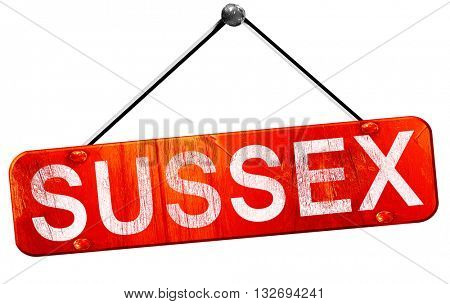 Sussex, 3D rendering, a red hanging sign