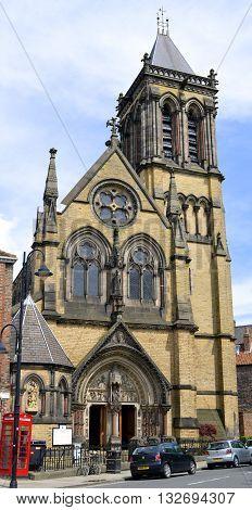 York Yorkshire England UK - May 22 2016 : The historical Roman Catholic church of St Wilfrid in York