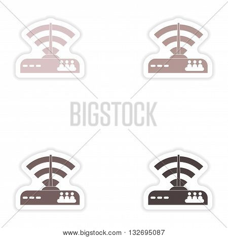 Set of paper sticker on white background   Wi-Fi router