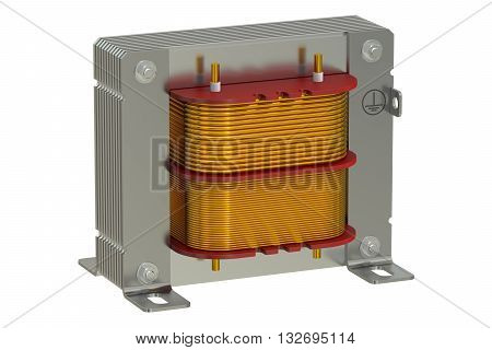 Electric transformer 3D rendering isolated on white background