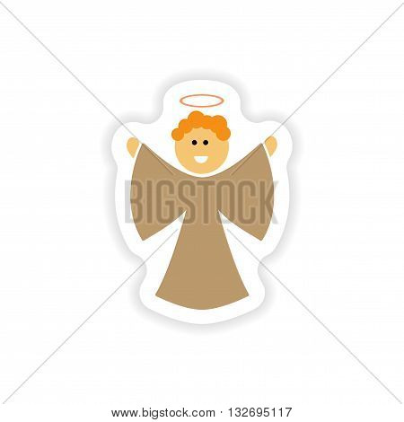 paper sticker on white background  Christmas Angels