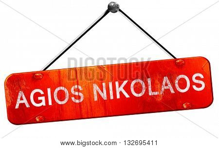 Agios nikolaos, 3D rendering, a red hanging sign