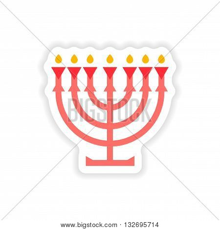 paper sticker on white background  candlestick candles