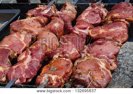 hot pork meat on metal skewers roasted on coals outdoors. Grilling shashlik during picnic outdoors.