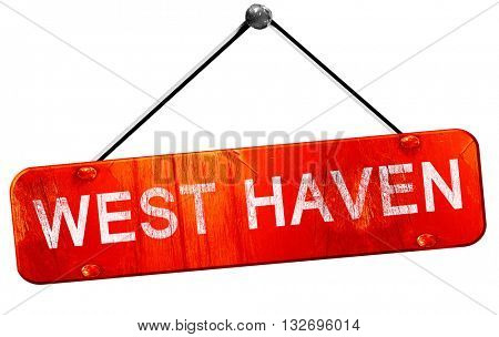 west haven, 3D rendering, a red hanging sign