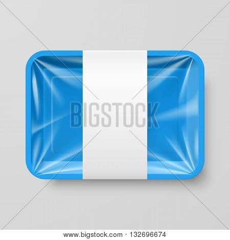 Empty Blue Plastic Food Container with Label on Gray Background